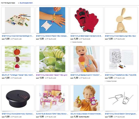babywalz knalleraktion tausende artikel f r 1 euro bei ebay schn ppchen produktproben f r. Black Bedroom Furniture Sets. Home Design Ideas