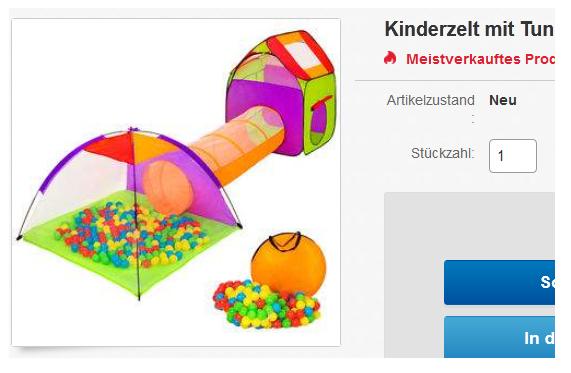 Kinderzelt mit tunnel für abenteuer im kinderzimmer