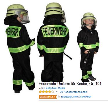 Kostüm & Verkleidung Feuerwehr-Uniform für Kinder
