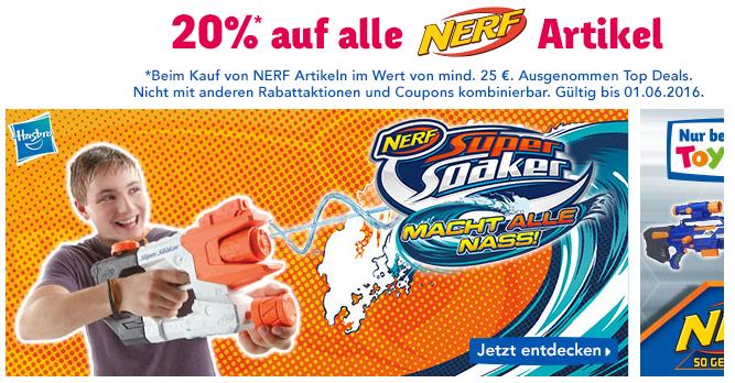 20% auf alles von NERF bei toysrus.de
