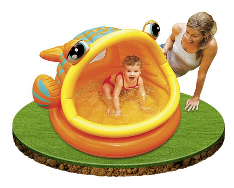 intex babypool lazy fish mit dach f r schatten. Black Bedroom Furniture Sets. Home Design Ideas