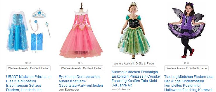 Prinzessinnen-Kostüme für Mädchen: niedliche Kinder-Verkleidungen bei Amazon