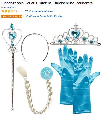 Accessoires-Set von Frozen-Die Eiskönigin Diadem, Handschuhe, Zauberstab