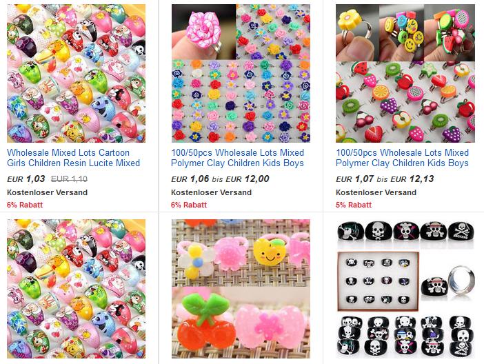 Ringe für Kinder 1,03 Euro, VERRÜCKTE Preise bei ebay