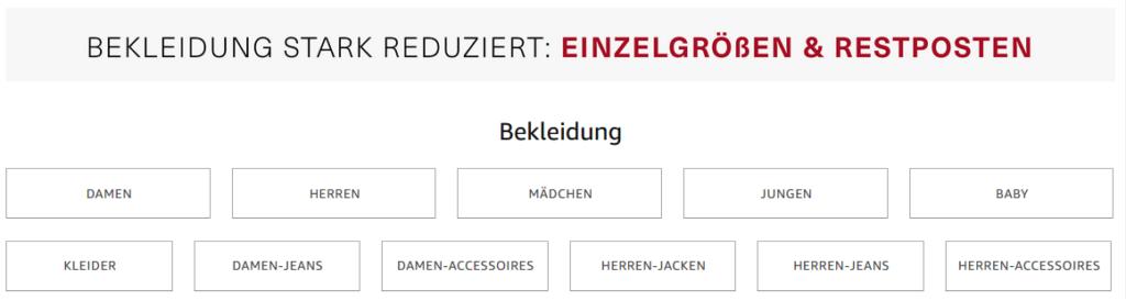 Bekleidung stark reduziert - Einzelgrößen & Restposten; amazon.de Screenshot