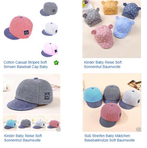 Baseball-Caps, Kappen und Mützen - soft & süß