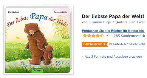 Geschenkidee Vatertag Der liebste Papa der Welt!