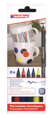 edding 4200 Porzellan Pinselstift (auch für Glas und Keramik). Standardfarben mit 6 Stiften. Zum spülmaschinenfesten Bemalen und Beschriften von Geschirr, Tassen und Gläsern